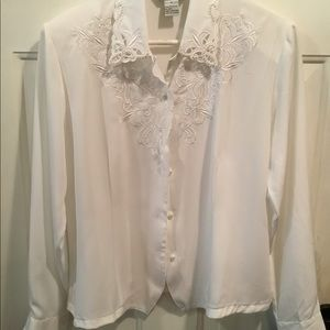 NWOT Silky Blouse w Pearl Accents
